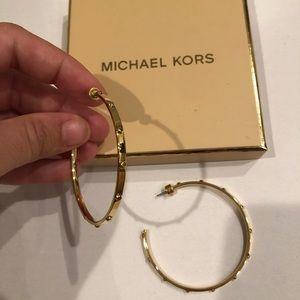 MK Gold Heritage Astor Stud Large Hoop Earring